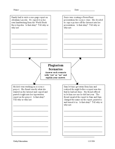 Plagiarism Scenarios Th  Th Grade Worksheet  Lesson Planet