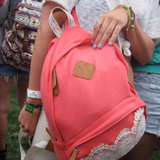 Salmon and lace backpack.