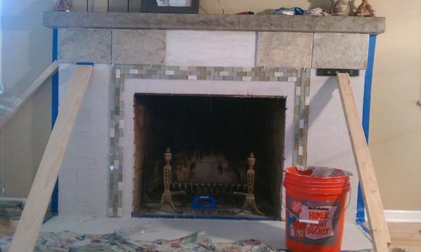 Tiling Over Brick Fireplace Skim Coat Or No Skim Coat Brick Fireplace Fireplace Brick Fireplace Makeover