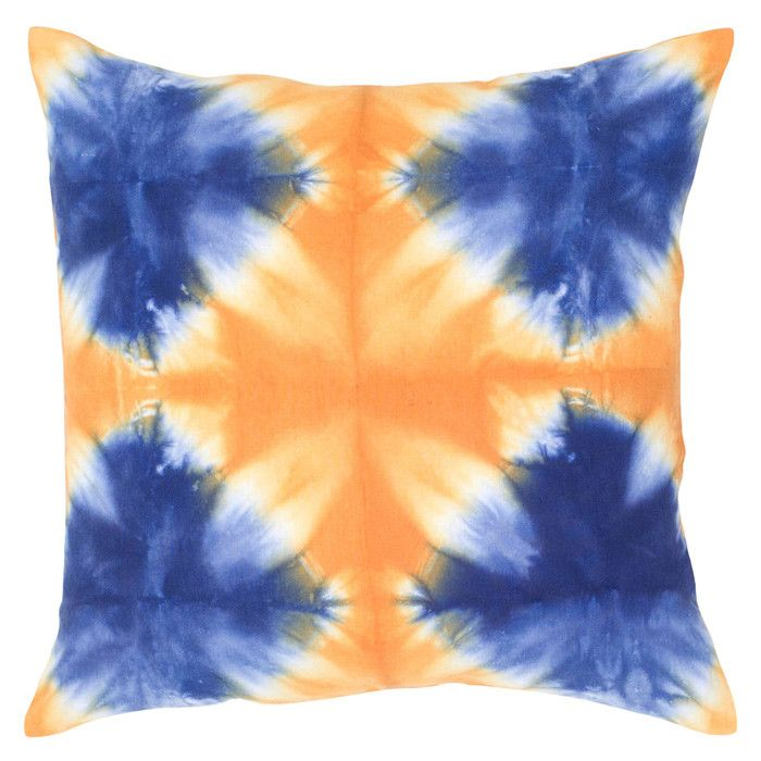 Mina Pillow in Orange and Blue Tie Dye Pattern