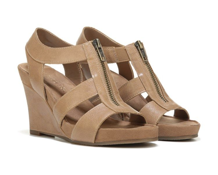 36fc2314a8c4 Comfort combines with a stylish look with the Plush Start Wedge Sandal from  Aerosoles.Manmade upper in a wedge sandal style with an open toeFront  zipper ...