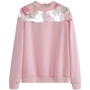 Pink Florals Mesh Insert Zipper Sweatshirt
