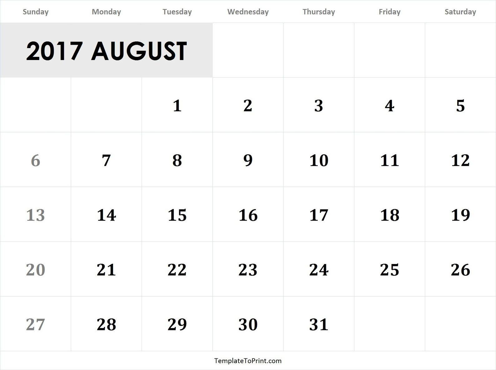 August 2017 Calendar Template Pdf 2017 Calendar Templates July