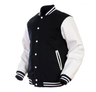 Retro Wool Synthetic Leather Varsity Letterman Jacket Black White Color Side Black Letterman Jacket Mens Lightweight Jacket Letterman Jacket