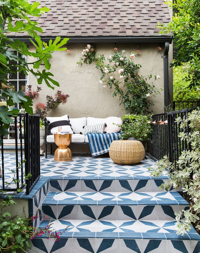 Emily Henderson Picks Granada Tiles Burgos Cement Tile For Her Patio - Cement tiles for backyard