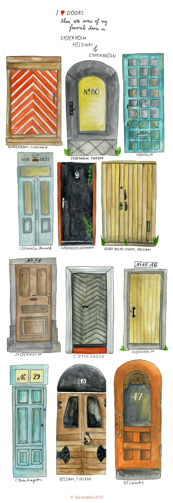Nordic Door Illustrations by Lisa Congdon