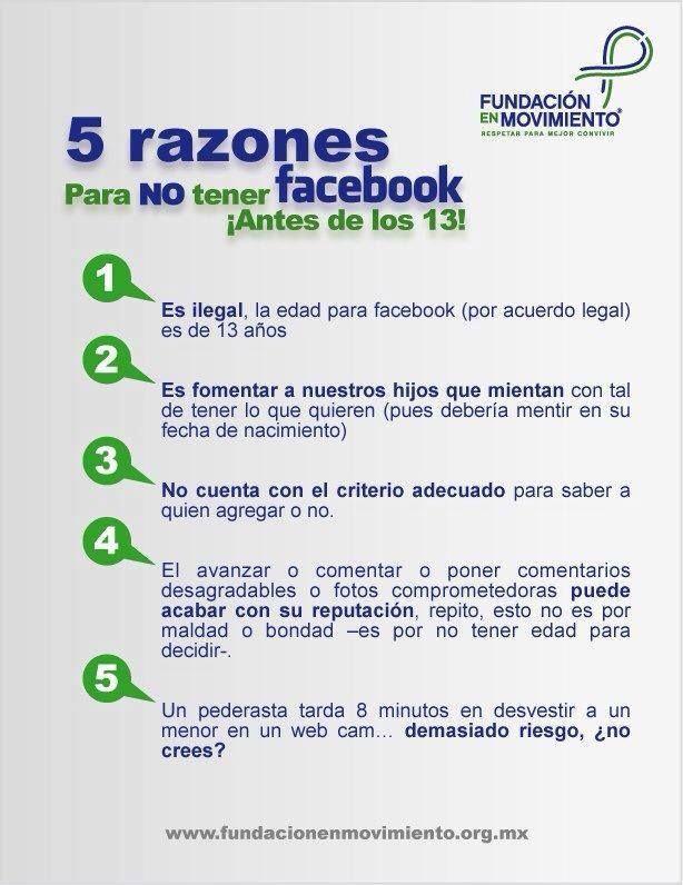 Cino razones para no tener #Facebook antes de los 13 años. #Seguridad #Internet #Menores