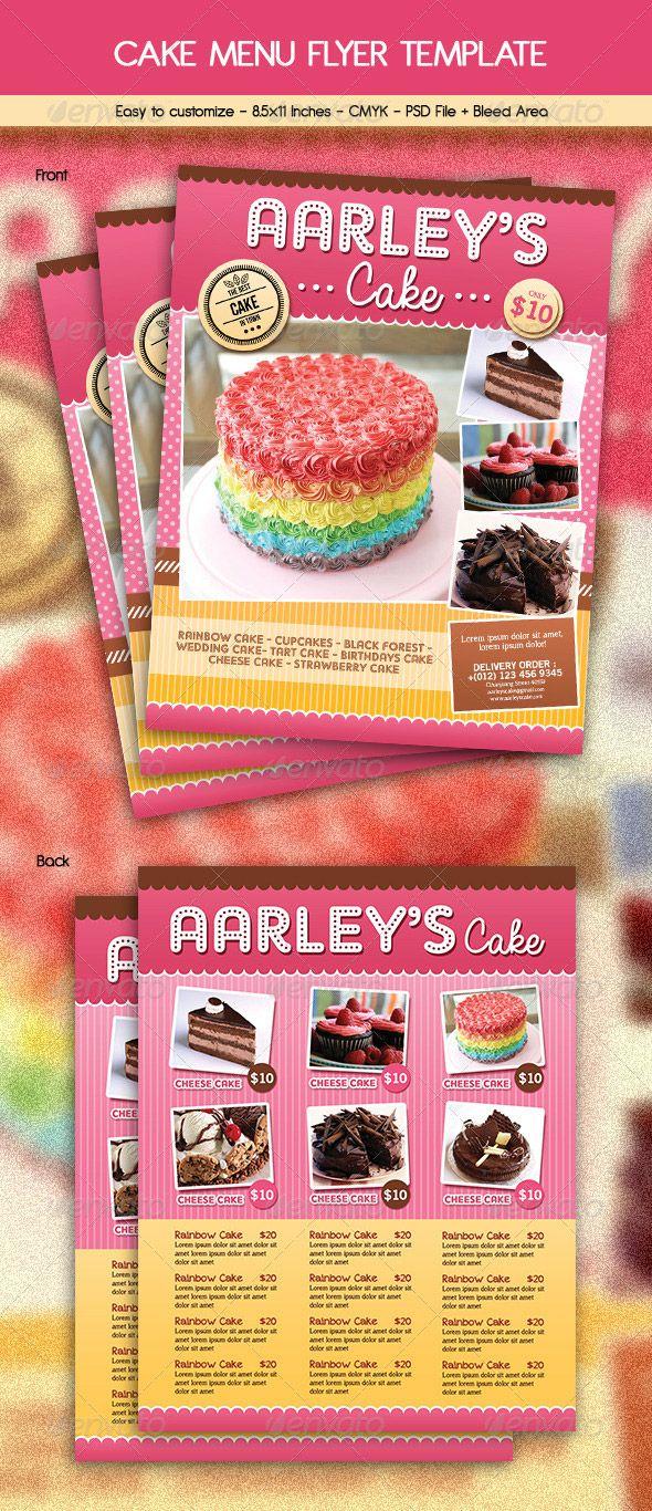 Cake Menu Flyer Menu Design Pinterest Food Menu Template Menu