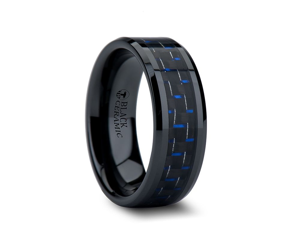 black mens wedding bands 8mm AVITUS Black Beveled Ceramic Ring with Blue Black Carbon Fiber Inlay