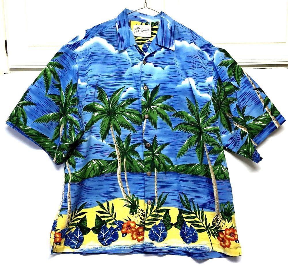 a95b874e Reservoir Hawaiian Beach Palm Tree Ocean Mens Shirt Size XL Tropical Button  Up #ReservoirWorldWide #Hawaiian