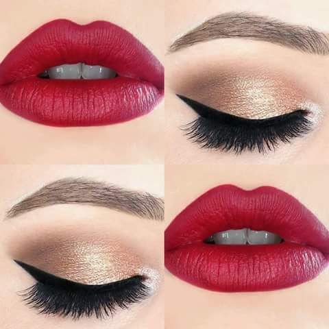 16 Maquillaje de ojos para labios rojos