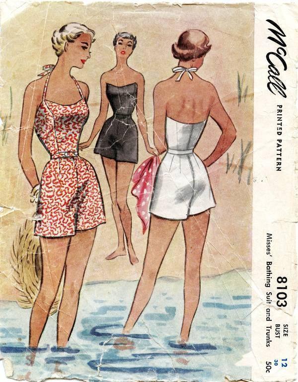 Vintage McCall 50\'s Halter Bathing Suit & Trunks Pattern #8103~1950 ...