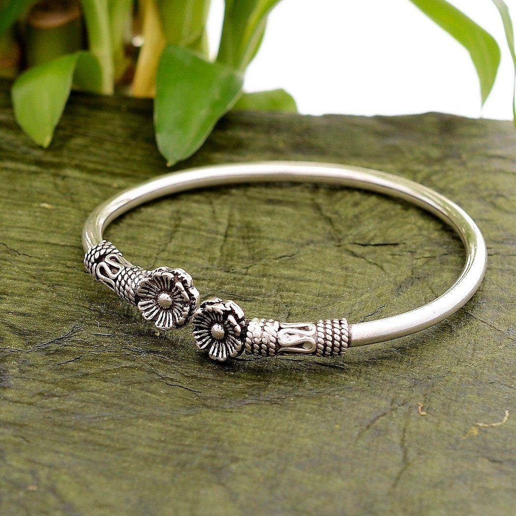 925 Sterling Silver Flower Charm Bracelet 7 Inch W//charm Fine Jewelry Gifts