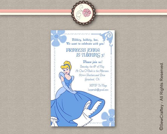 Disney Cinderella Birthday Invitation - Microsoft Word Template - how to word a birthday invitation