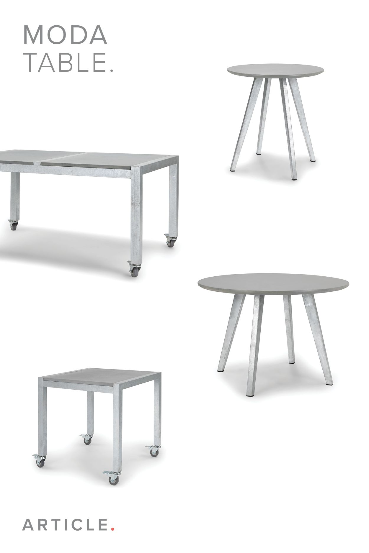 An Unexpected Guest Sporting A Fiber Cement Top And Galvanized Metal Legs The Moda Is Not Your Ordinary Table Furniture Scandinavian Furniture Coffee Table