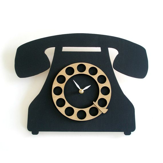 Modern Wall Clock Old School Telephone Black And Wood Wall Clock Modern Clock Wall Clock