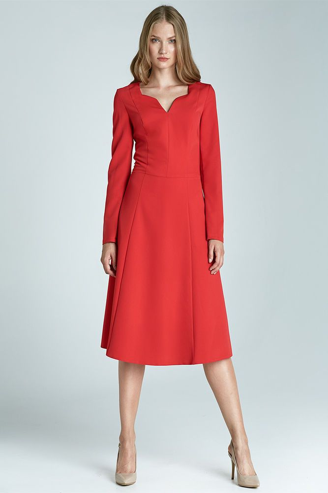 15aa5e8ea7f Robe rouge chic Femme Midi qualité S66 Nife taille 34 36 38 40 42 44  habill