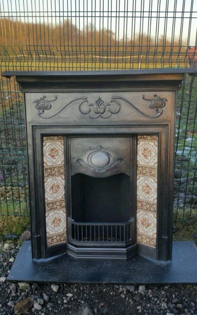 original circa 1903 art crafts cast iron fireplace old tiled fire rh pinterest com