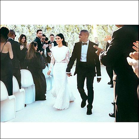 Kim Kardashian, Kanye West Wedding Pictures: See Dress, Newlyweds Kiss