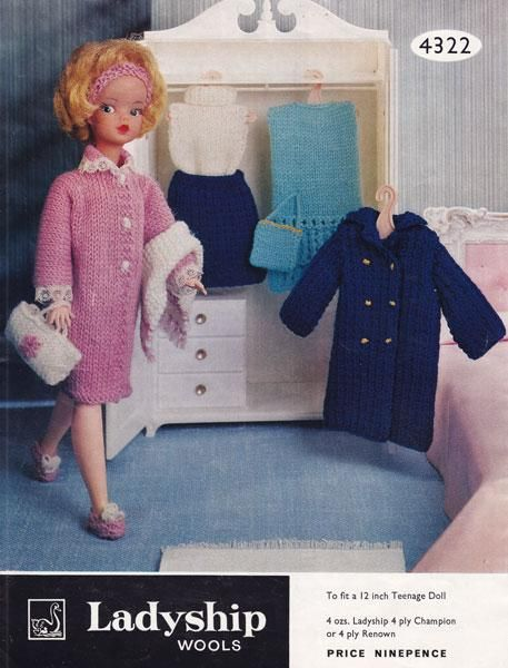Vingtage Knitting Pattern For Sindy Or Barbie Wardrobe In 4ply