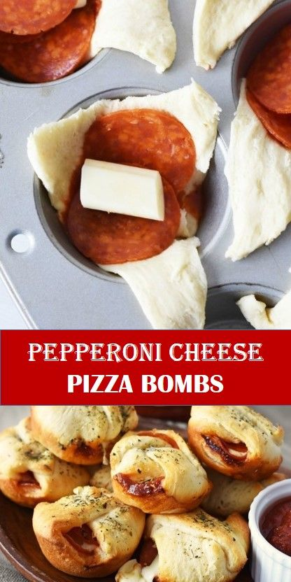 #recipe #food #drink #delicious #family #Pepperoni #Cheese #Pizza #Bombs #Best #Vegan #Recipes! #BestVeganRecipes! Tasty healthy food and drink that you definitely like Pepperoni Cheese Pizza Bombs Everyone loves these easy, cheesy, Pepperoni Pizza Bombs! Made with Crescent roll dough, these easy and delicious pizza bites bake up quickly in the oven. Serve these pepperoni cheese pizza bombs at your next party and amaze your guests! #cheesepizza