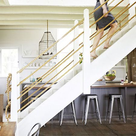 interior stair railing designs ideas and decors most.htm add a rope bannister balustrade to staircase www home dzine  add a rope bannister balustrade to