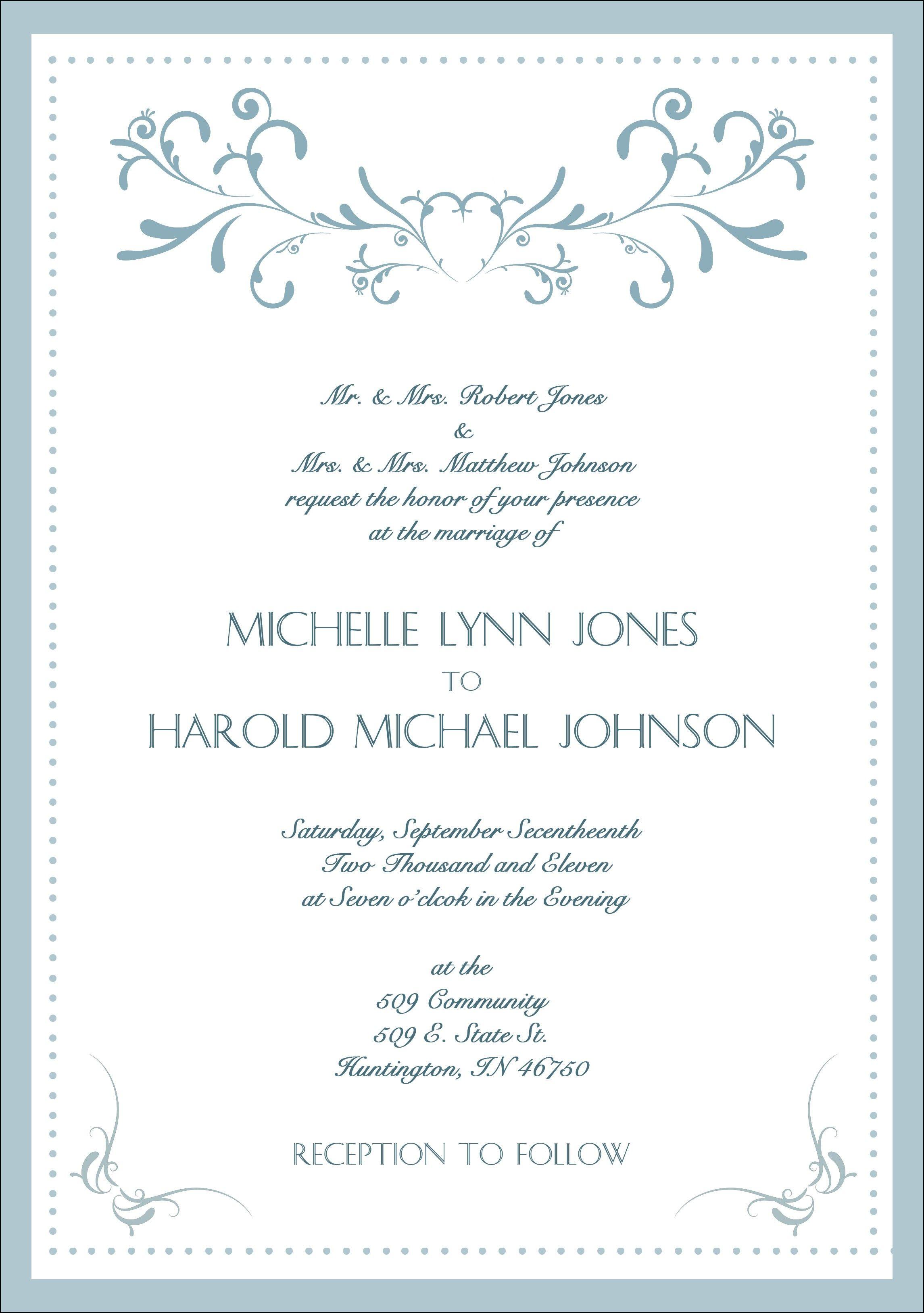 Formal Wedding Invitation Samples | Wedding Ideas | Pinterest ...