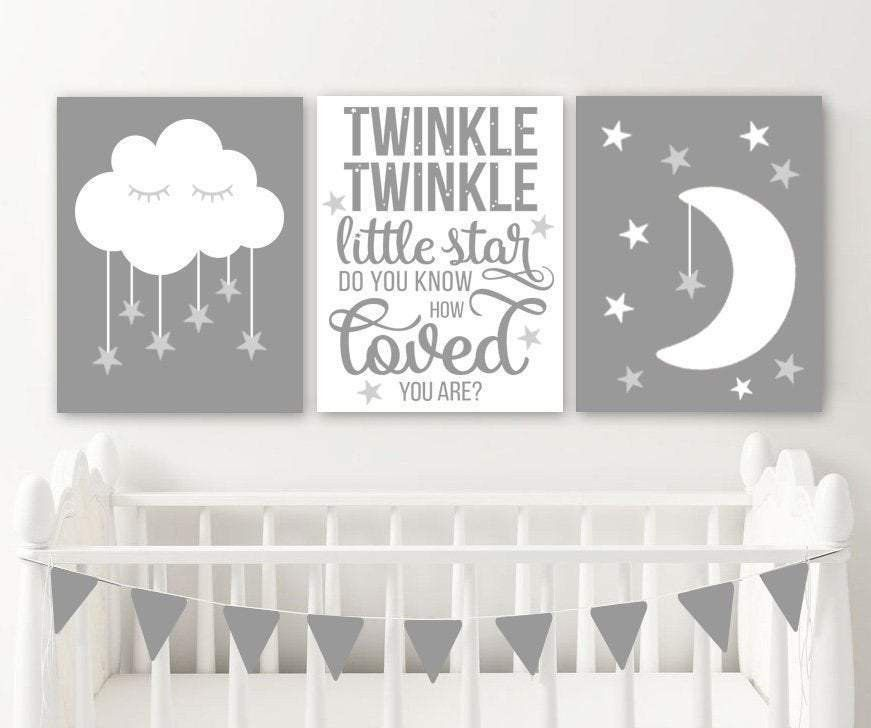 Moon Cloud Stars Nursery Decor Prints Or Canvas Twinkle Etsy In 2021 Stars Nursery Decor Moon Stars Nursery Star Themed Nursery