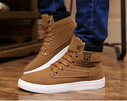2014 New Zapatos de Hombre Mens Fashion Spring Autumn Leather Shoes Street  Men's Casual Fashion High