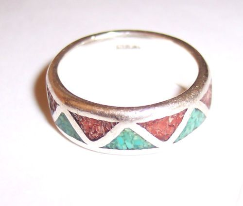 Sterling Silver Turquoise Coral Mosaic Inlaid Druzy Ring Hippie Wedding Band 8