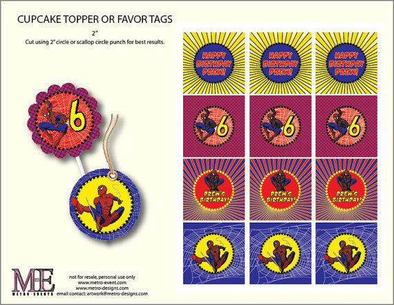 Spiderman Cupcake Toppers, Spiderman Birthday Party, Spiderman Favor Tags, Super Hero Labels, Superhero Tags, Spiderman Party Tags