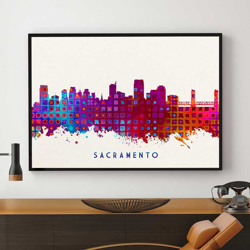 Washington Dc Wall Art sacramento skyline art, sacramento print, sacramento painting