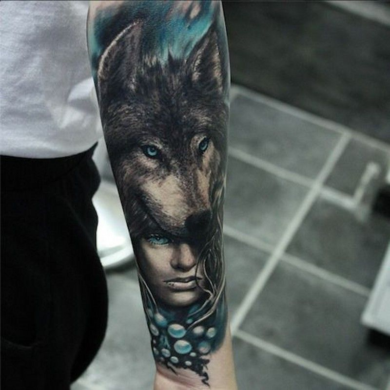 Beautiful Woman And Head Of Wolf Forearm Tattoo Wolf Tattoo Sleeve Wolf Tattoos Eye Tattoo