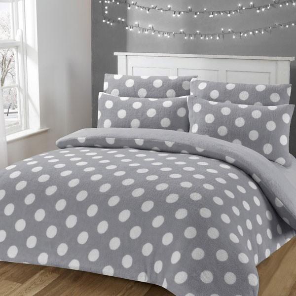 Night Zone Dotty Super Soft Teddy Fleece Warm Cosy Duvet Cover Set Duvet Cover Sets Duvet Covers Bedding Sets