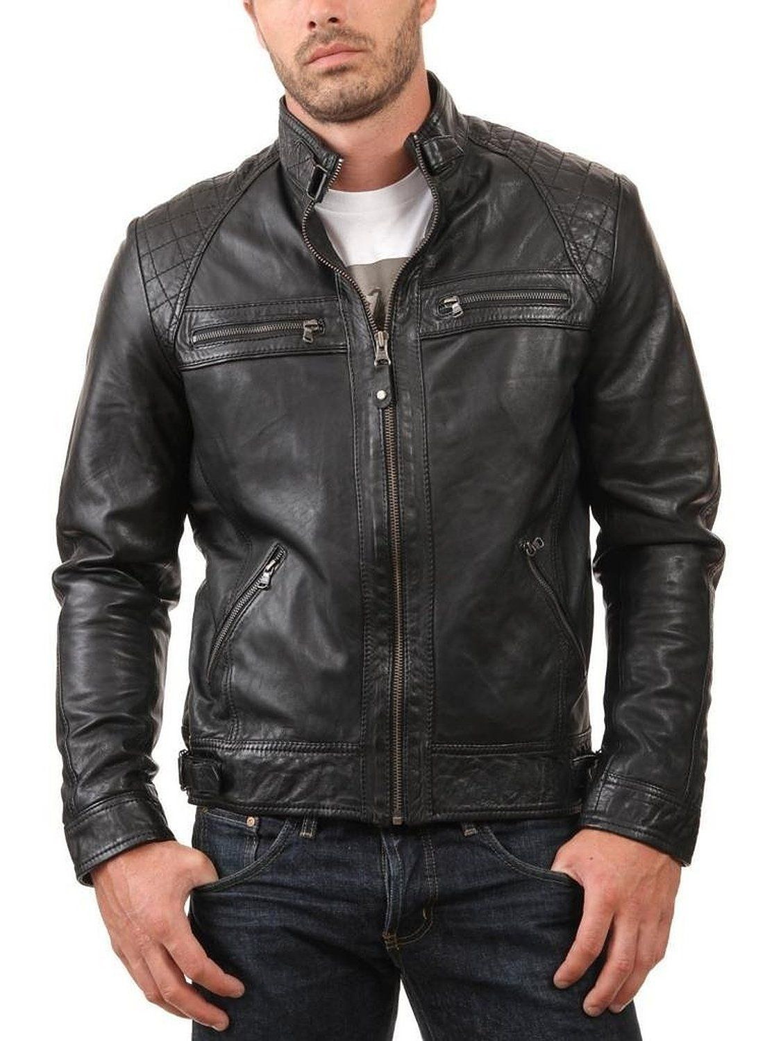 Western Leather Men's Leather Jacket Black at Amazon Men's