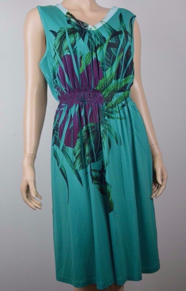 Closet Full Womens M Dress Green sleeveless leafy tropical