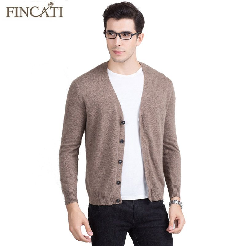 Men Cardigan Sweater 2017 High Quality Pure Mink Cashmere Fluffy ...