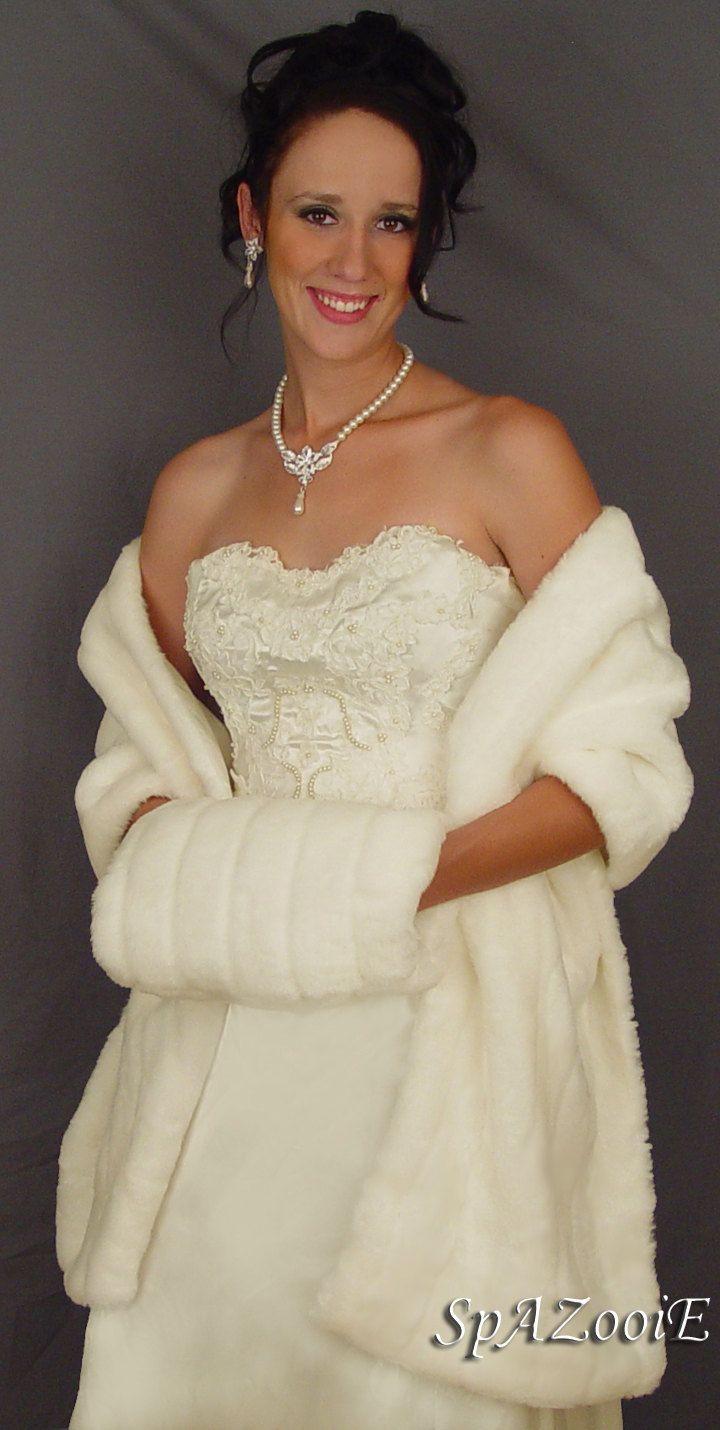Ivory faux fur wrap stole shawl shrug bridal wedding mink for Fur shrug for wedding dress