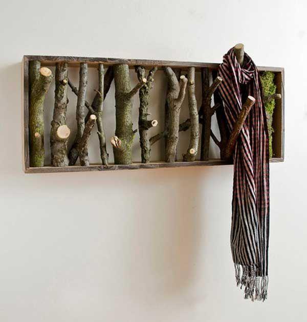 diy kleiderhacken aus holz-basteln mit naturmaterialien | holz, Moderne deko