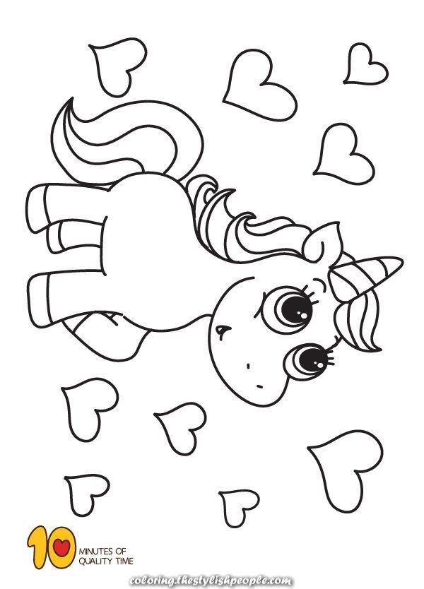 Amazing Unicorn And Hearts To Paint Heart Coloring Pages Easy Coloring Pages Coloring Pages