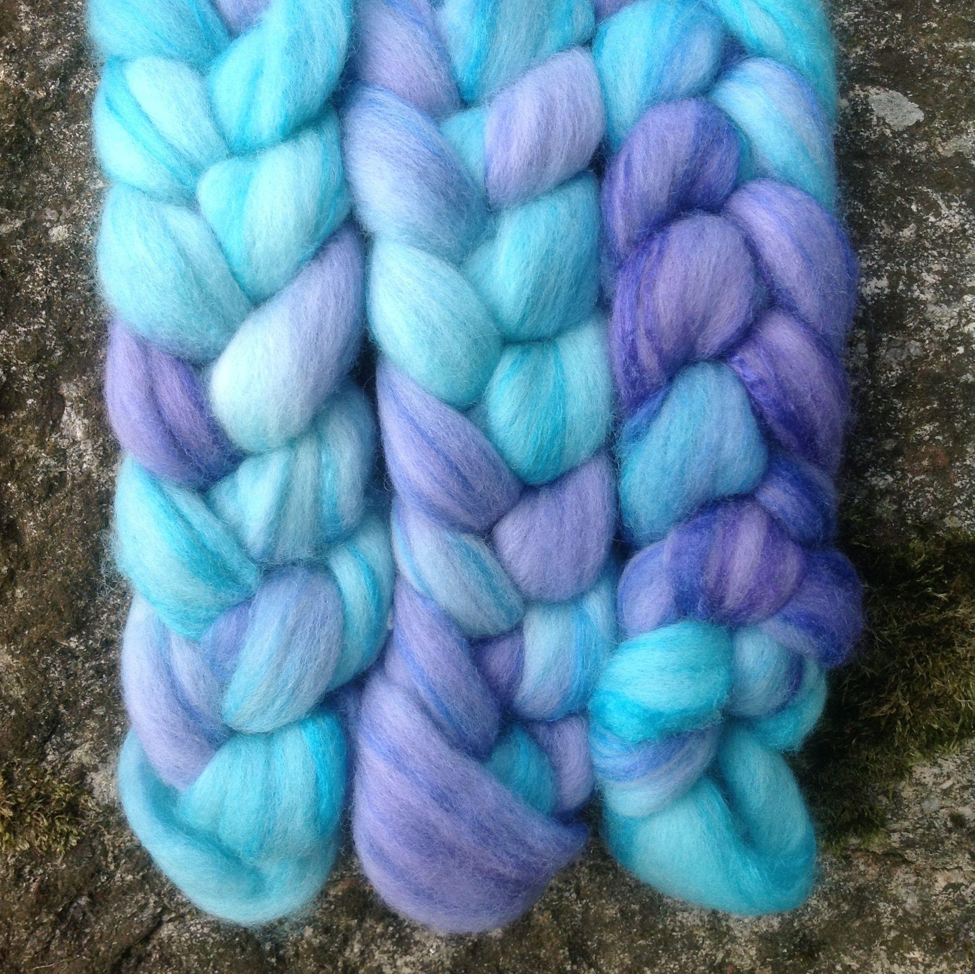 DAINTY DELPHINIUM. Merino/silk roving dyed with Dylon