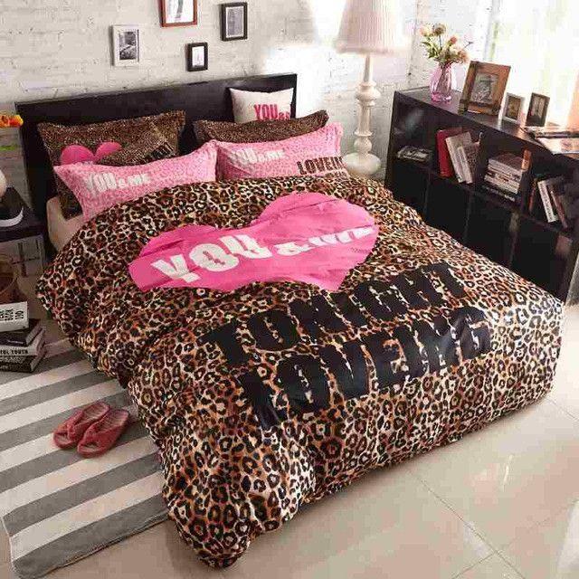 Victoria Pink Velvet Pink Leopard Print Bedspread Set Bedding Bed