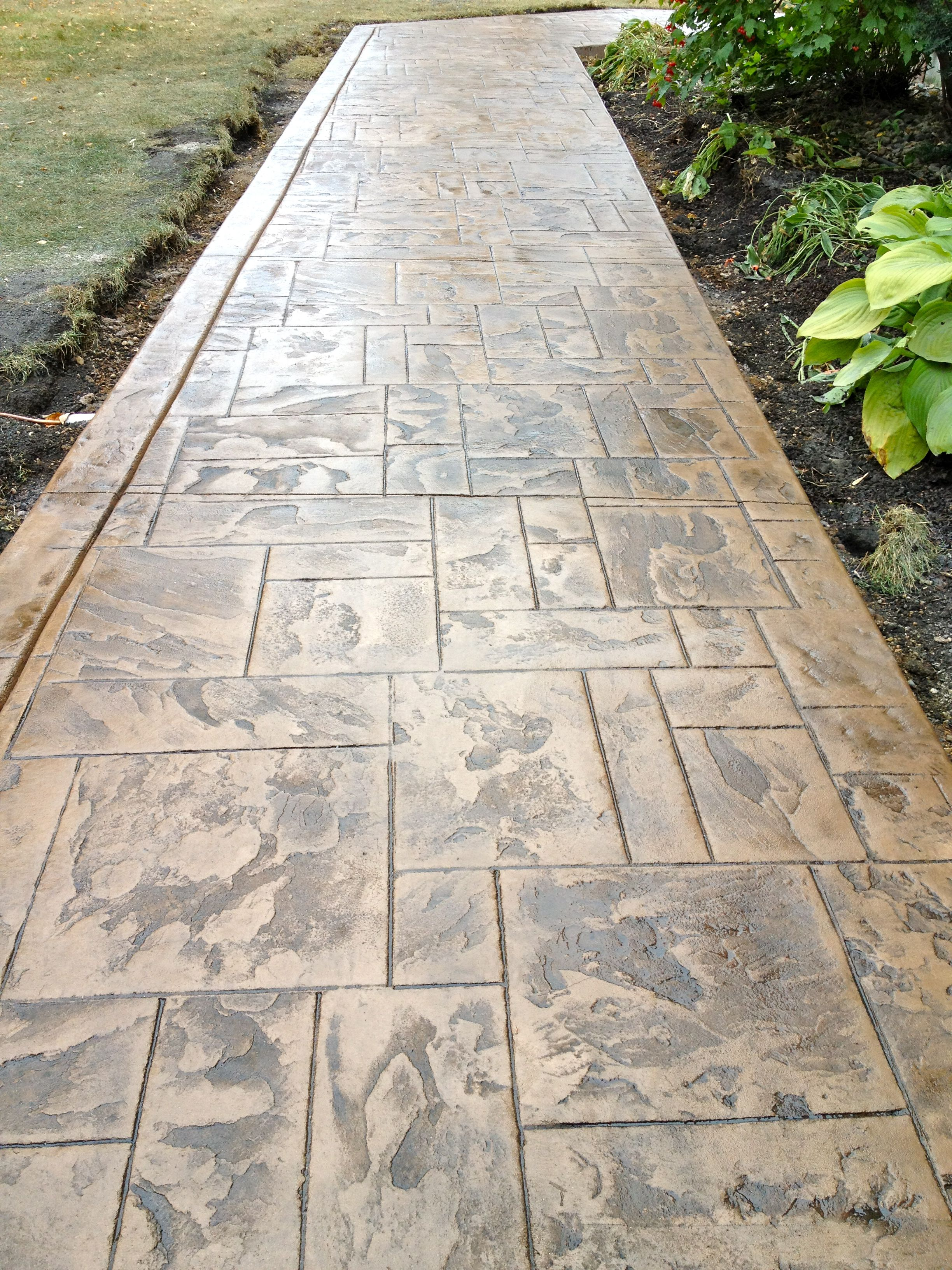 Images Of Stamped Concrete Patios: Stamped Concrete Walkway. Pattern Is Ashler Slate With