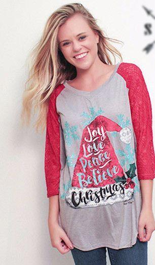 Joy Love Peace Christmas Women's Shirt (sz S-XXL)