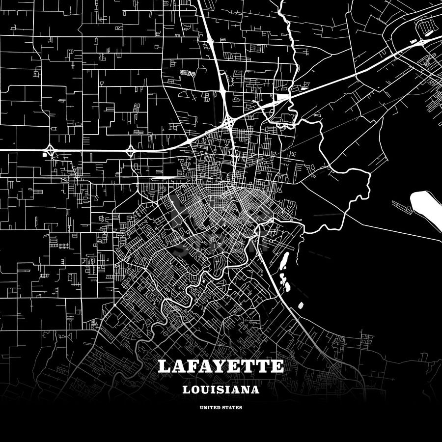Black Map Poster Template Of Lafayette Louisiana Usa Hebstreits Maps And Sketches Map Poster Louisiana Map Poster Template Poster template 36 x 48