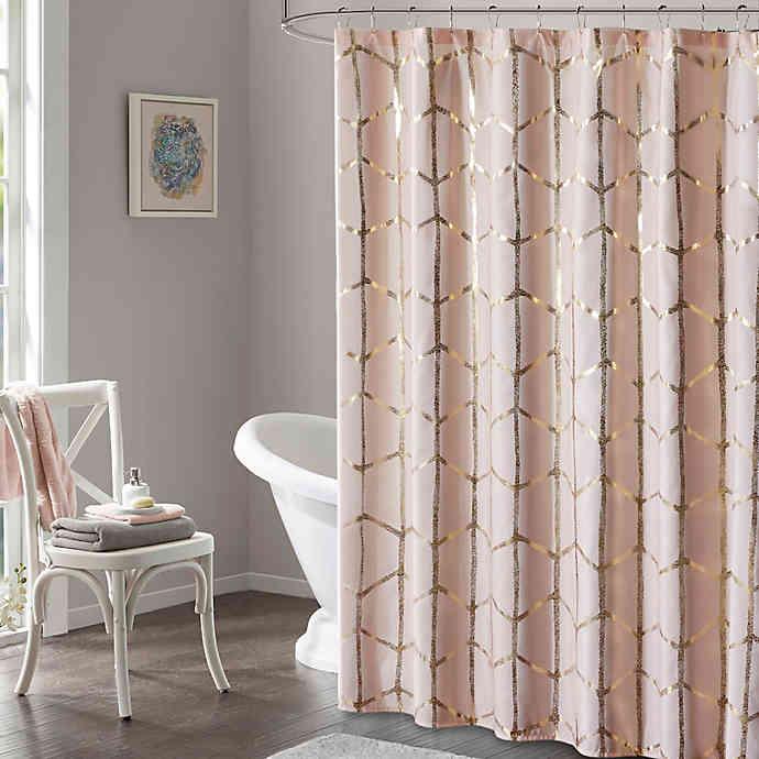 Intelligent Design Raina Metallic Shower Curtain In 2020 Pink Shower Curtains Shower Curtains Walmart Gold Shower Curtain