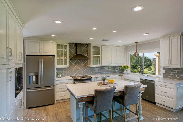 Ivory shaker cabinets and gray backsplash kitchen ideas pinterest