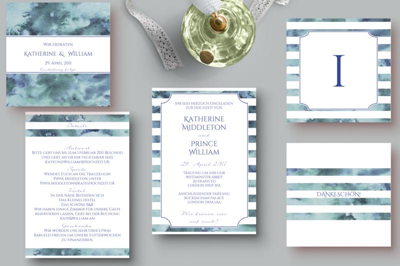 Hochzeitseinladung Zum Ausdrucken Maritim Von The Happy Paper Box
