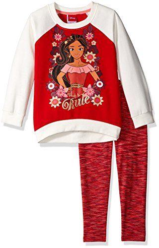 bb5105c8f49 Disney Little Girls  2 Piece Elena of Avalor Fleece Sweatshirt and Space  Dye Legging Set