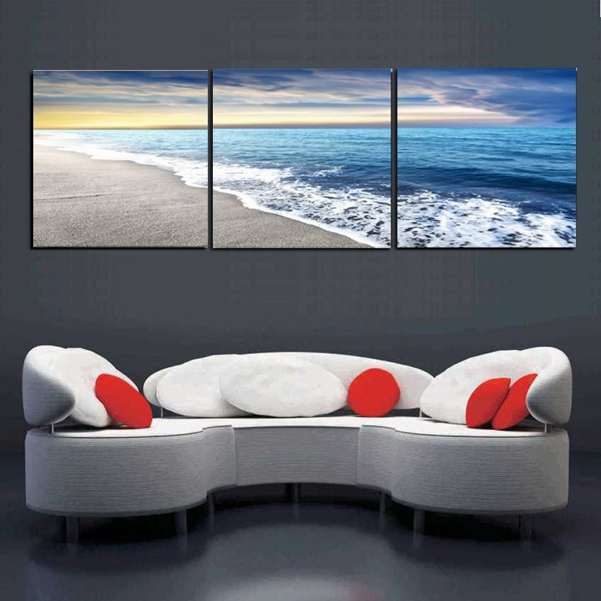 3 Panels Wall Art Pictures Beach Sandy Sea Wave Seascape Spray Painting Canvas For Room Decor Modern Living Room Wall Art Painting Wall Art Prints Wall Prints